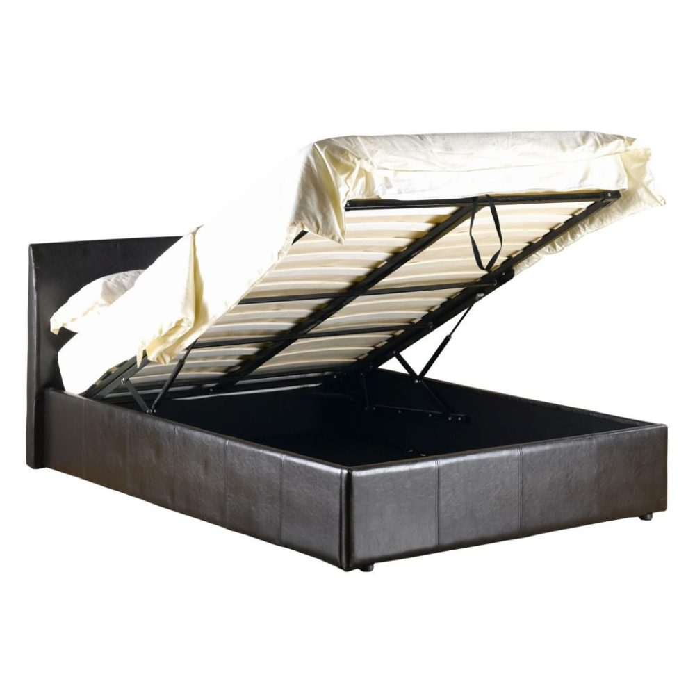 White Leather Bed Frame With Storage