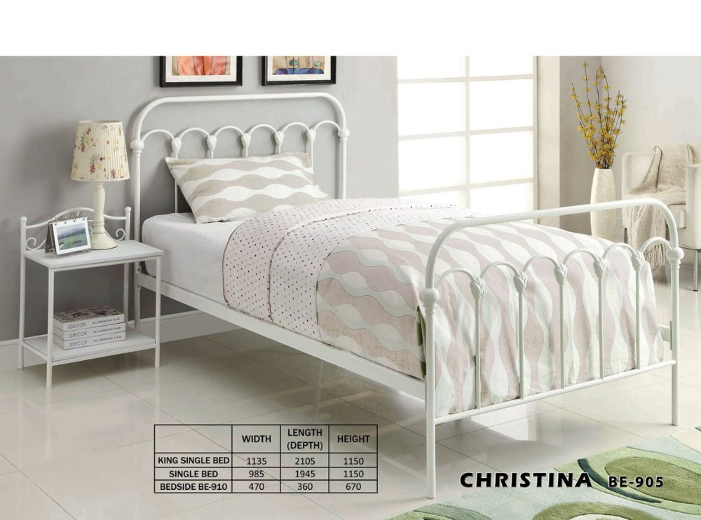 White Metal King Bed Frame