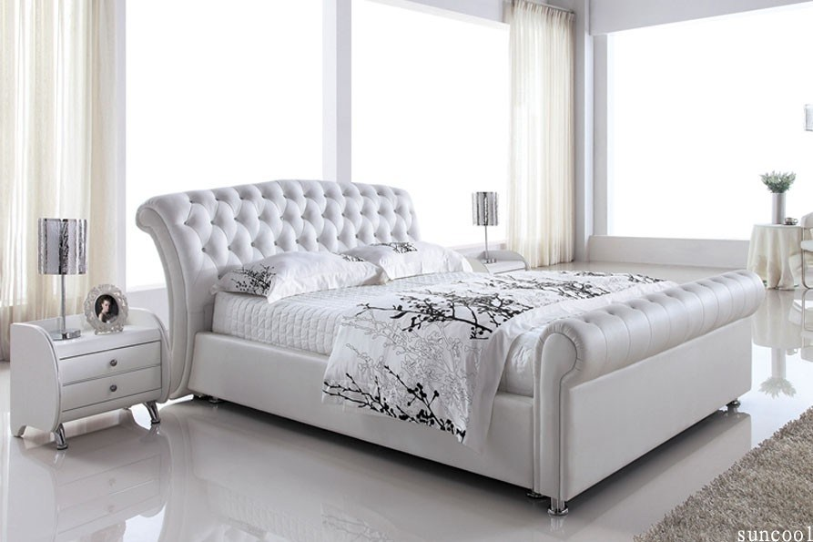 White Queen Size Platform Bed Frame