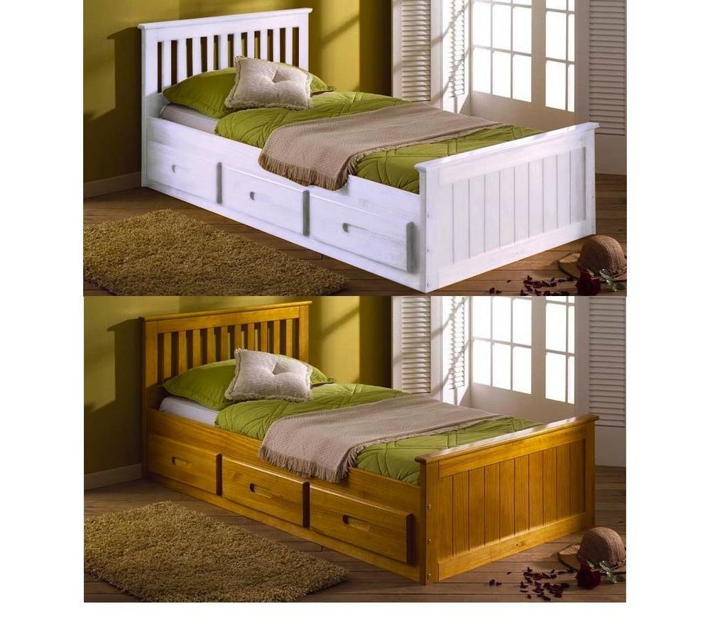 White Single Bed Frame With Storage