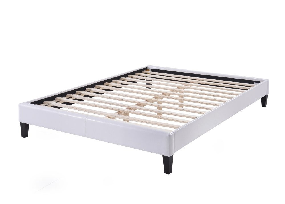 White Upholstered Queen Bed Frame
