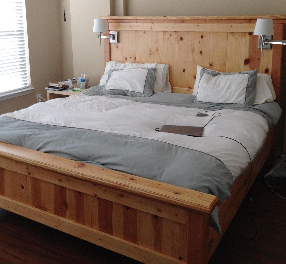 White Wood Bed Frame King Size
