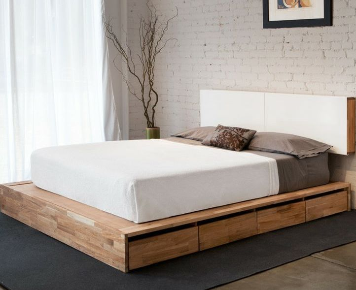 White Wood Bed Frame Queen