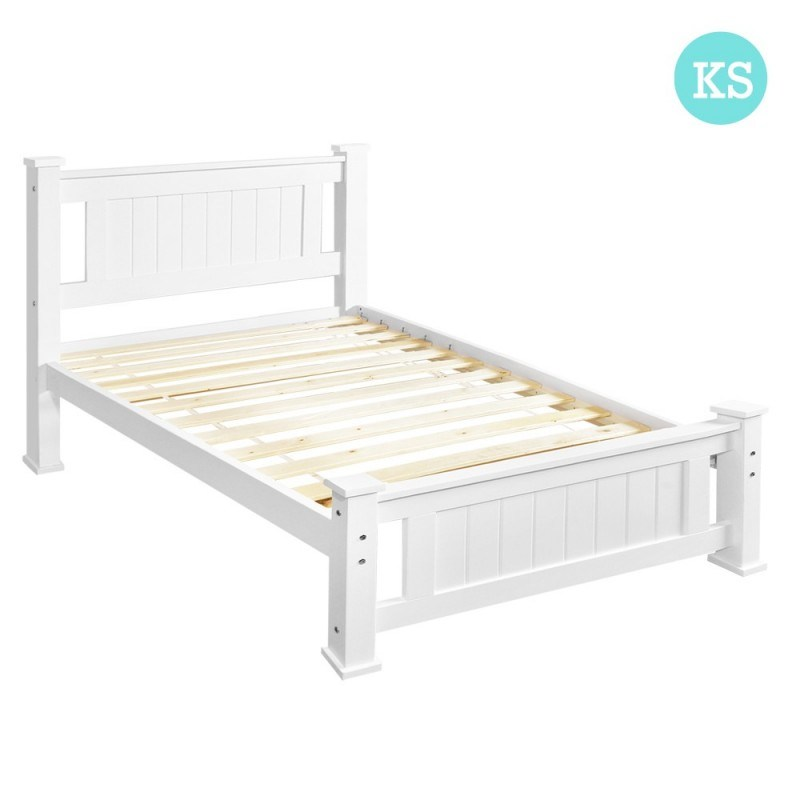 White Wood Bed Frame Single