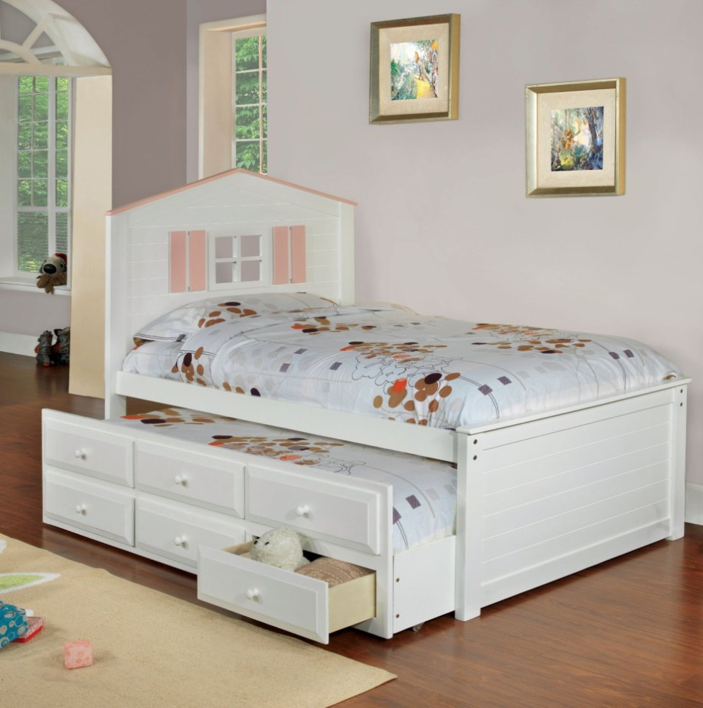 White Wood Bed Frame Twin