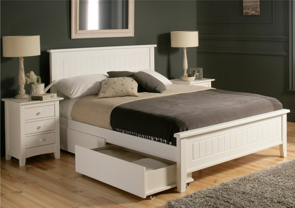 White Wood Bed Frames Queen