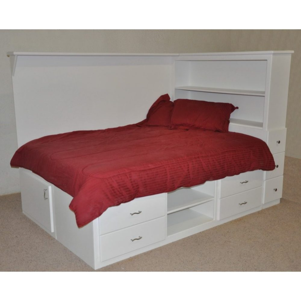 White Wood Queen Size Bed Frame