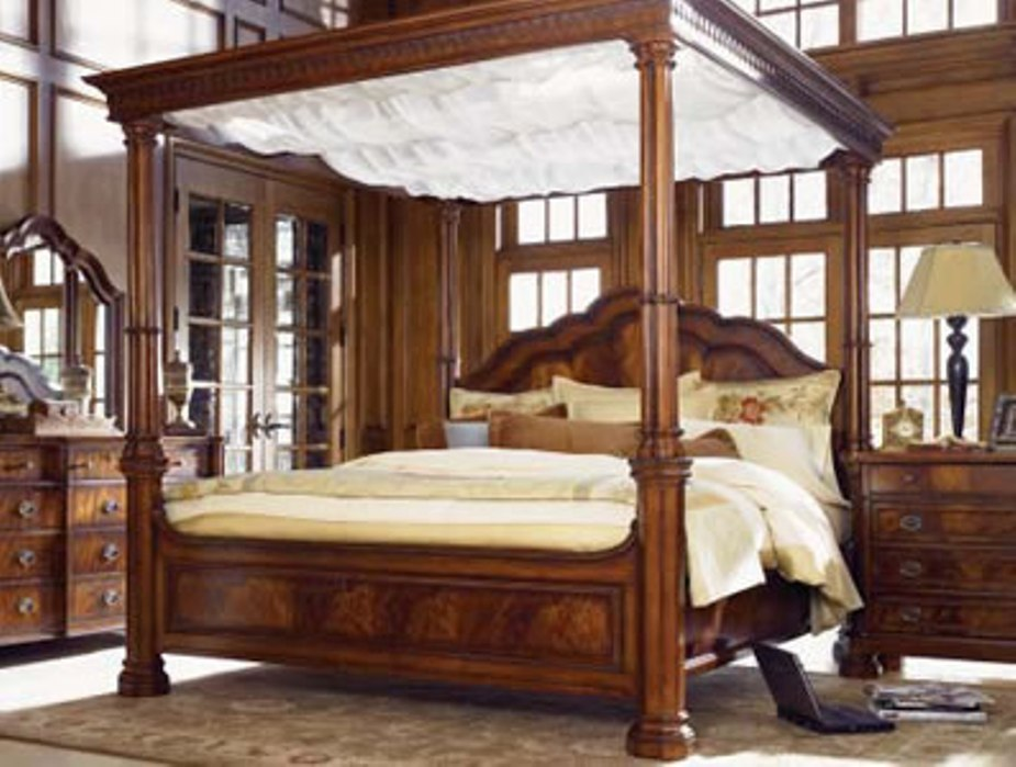Wood Canopy Bed Frame Full