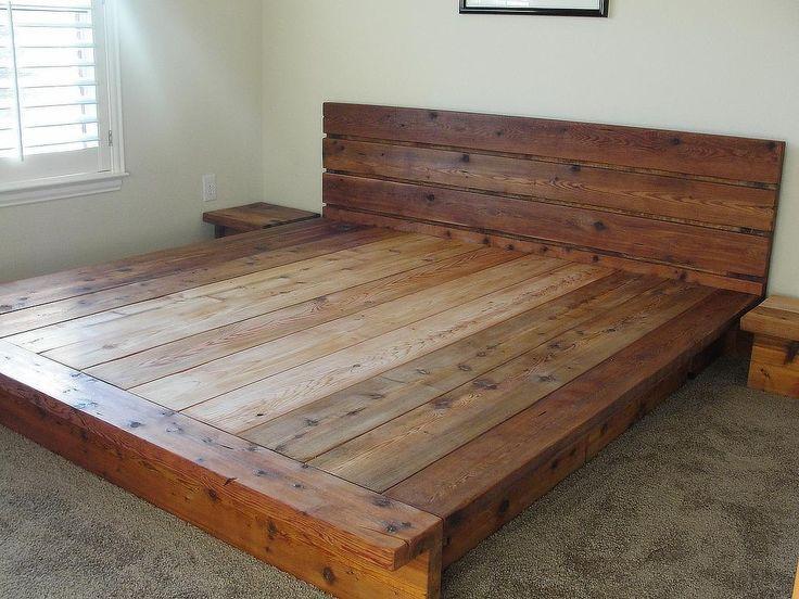 Wood King Platform Bed Frame