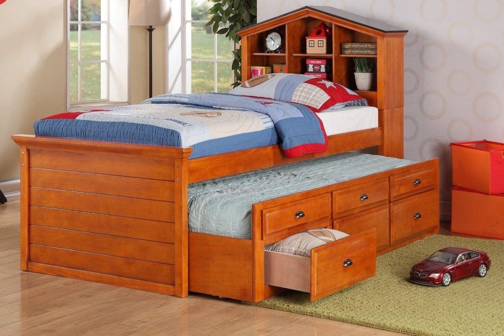 Wood Twin Bed Frame With Trundle
