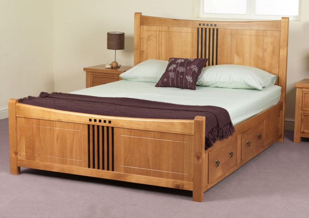 Wooden Bed Frame With Headboard