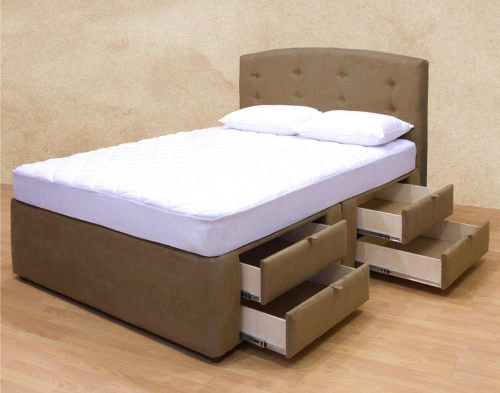 Wooden Platform Bed Frame With Drawers