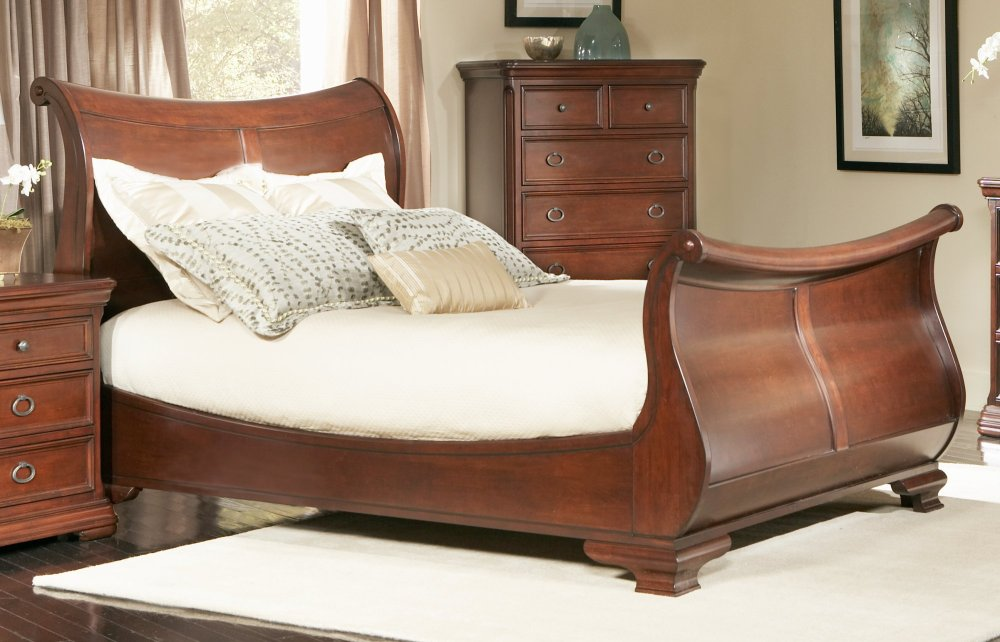 Wooden Sleigh Bed Frame Queen