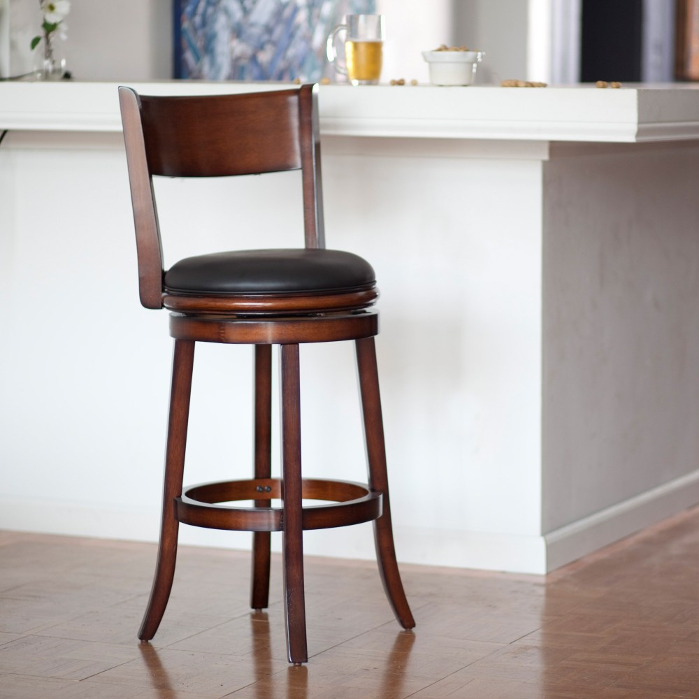 24 Inch Wooden Swivel Bar Stools With Back