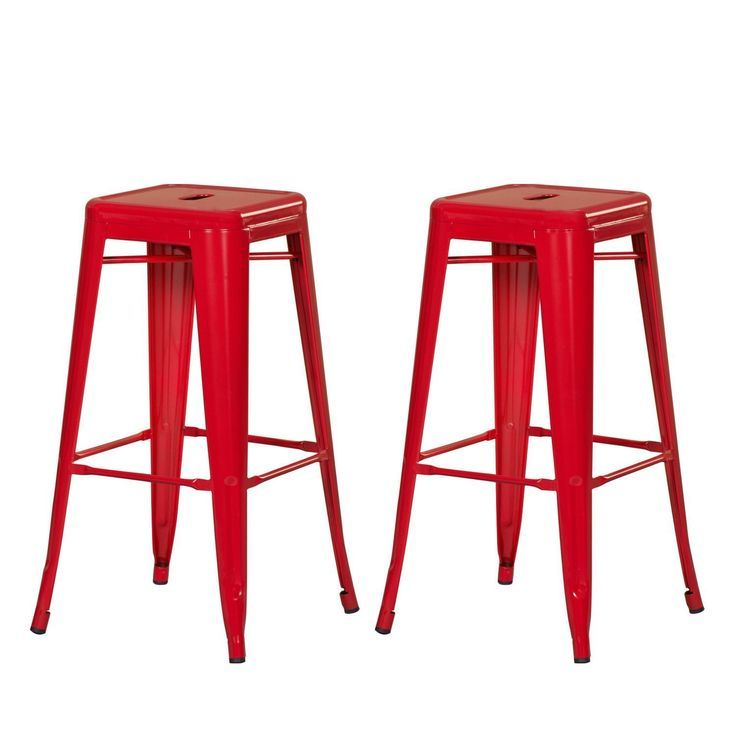 30 Inch Red Metal Bar Stools