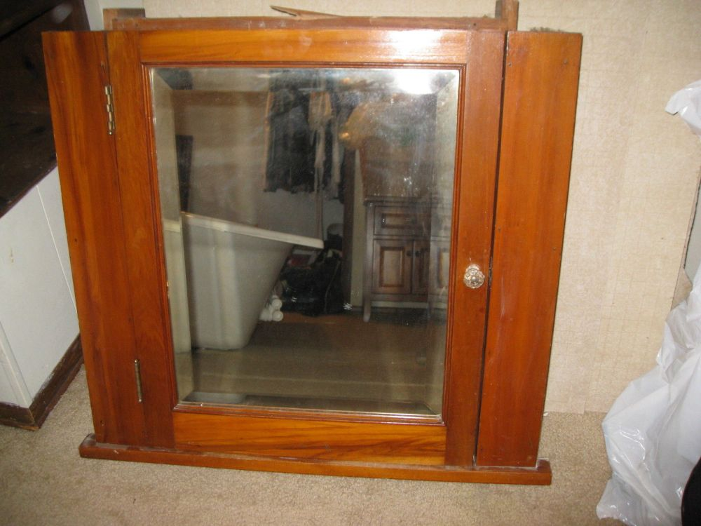Antique Corner Medicine Cabinet With Mirror