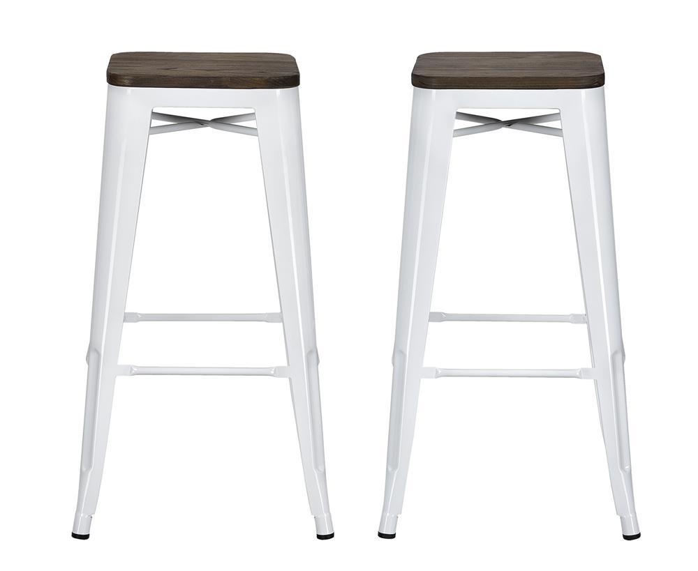 Antique White Backless Bar Stools