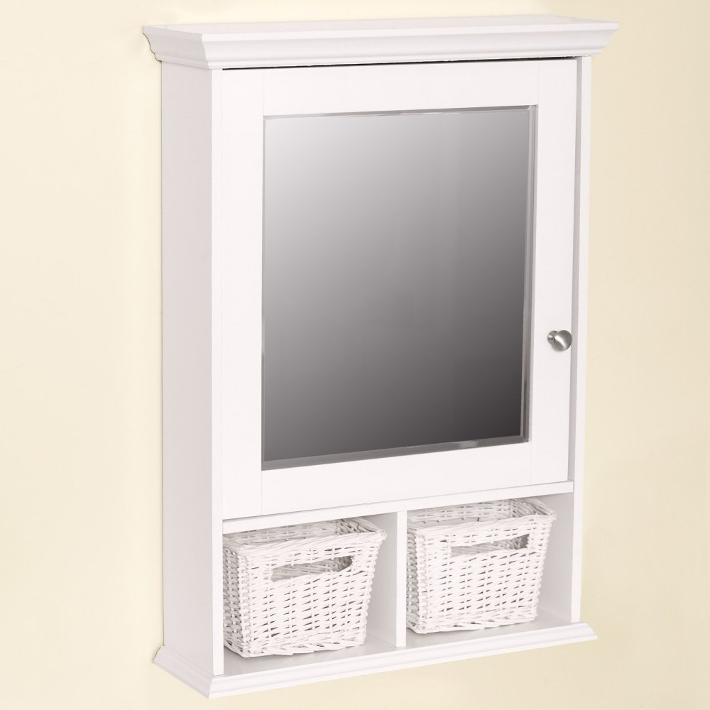 Antique White Medicine Cabinet With Mirror