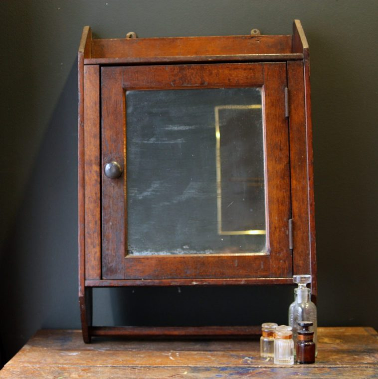 Antique Wood Medicine Cabinet With Mirror
