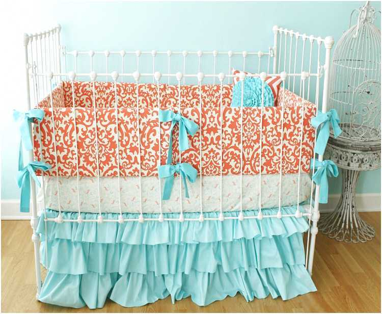Aqua And Coral Toddler Bedding