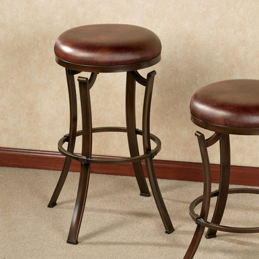 Backless Swivel Wood Bar Stools