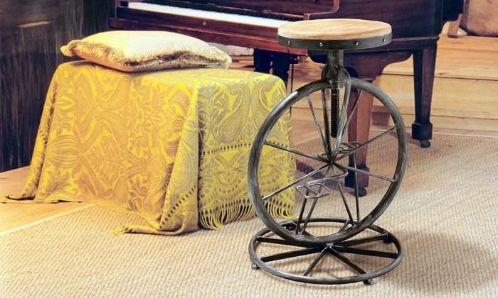 Bicycle Wheel Adjustable Barstool
