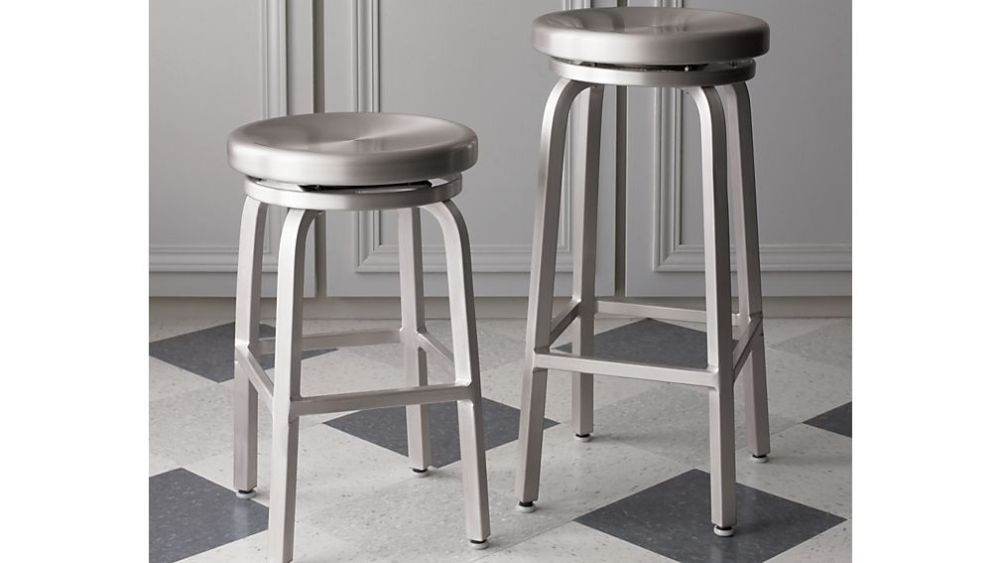 Black Backless Swivel Bar Stools