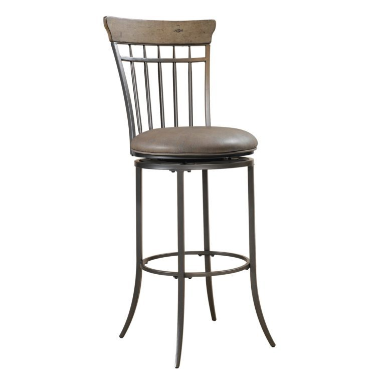 Black Metal Swivel Bar Stools With Back