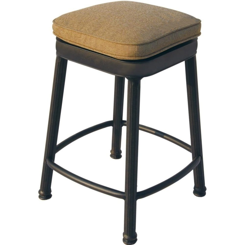 Black Wooden Backless Bar Stools