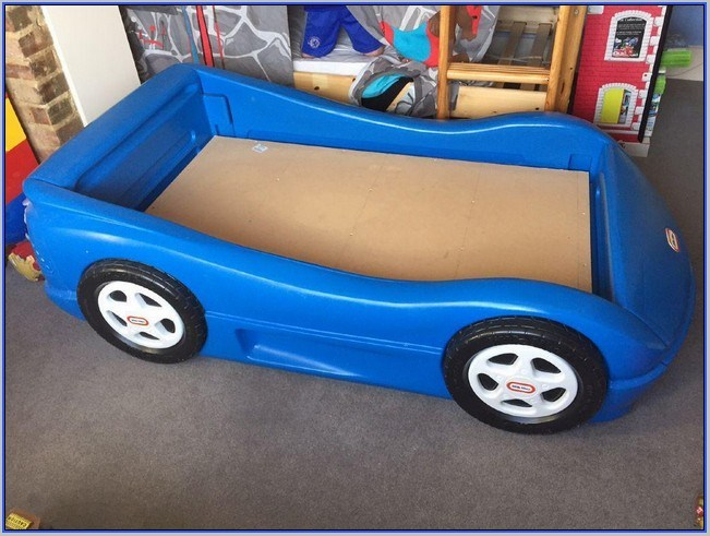 Blue Toddler Race Car Bed
