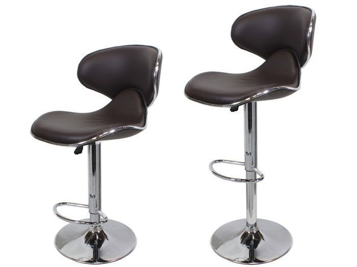 Brown Leather Adjustable Swivel Bar Stools
