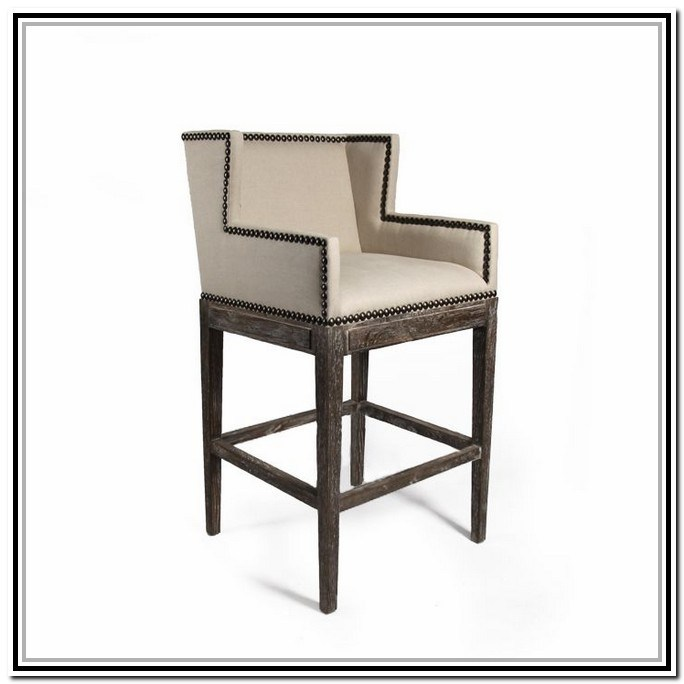Brown Leather Bar Stools With Nailheads