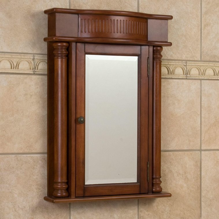 Cherry Medicine Cabinet With Mirror