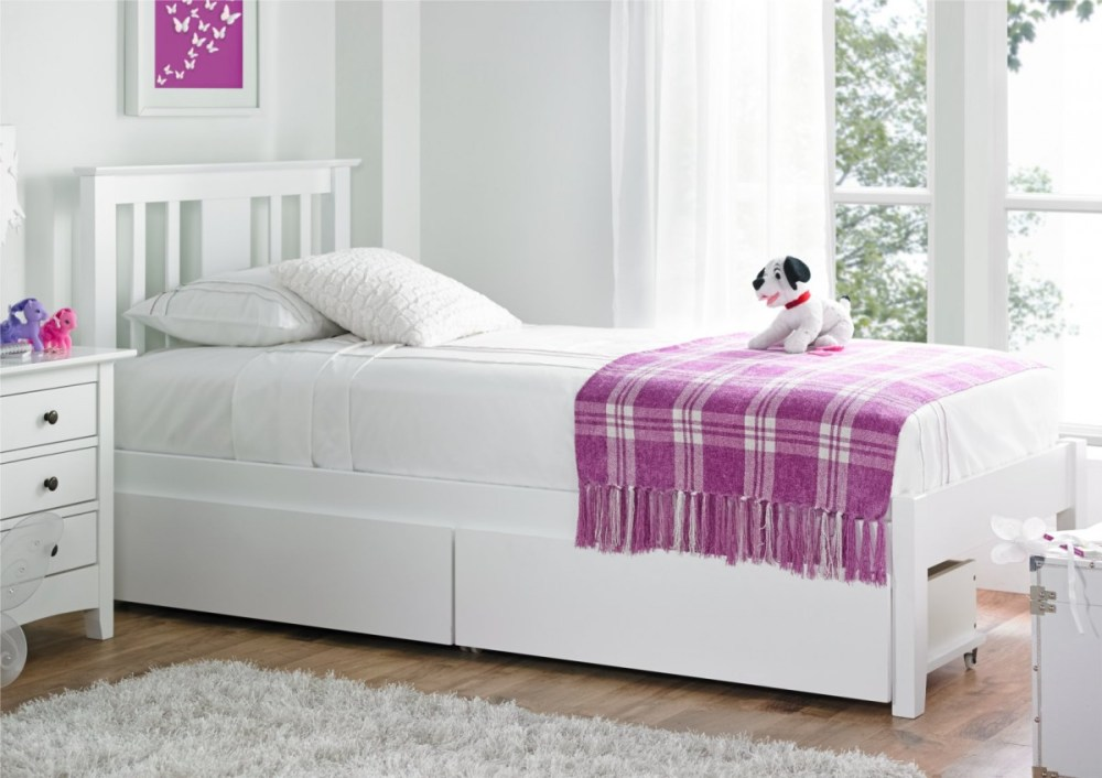 Childrens White Wooden Bed