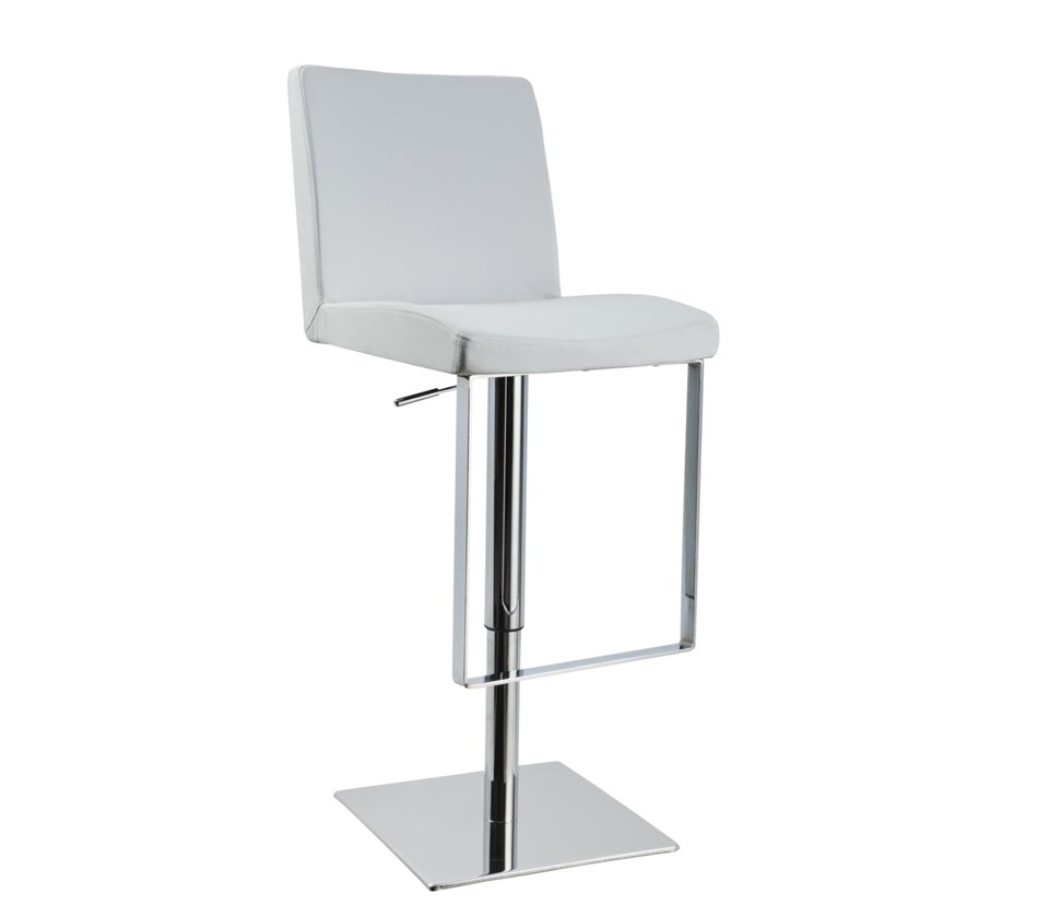 Contemporary White Leather Bar Stools
