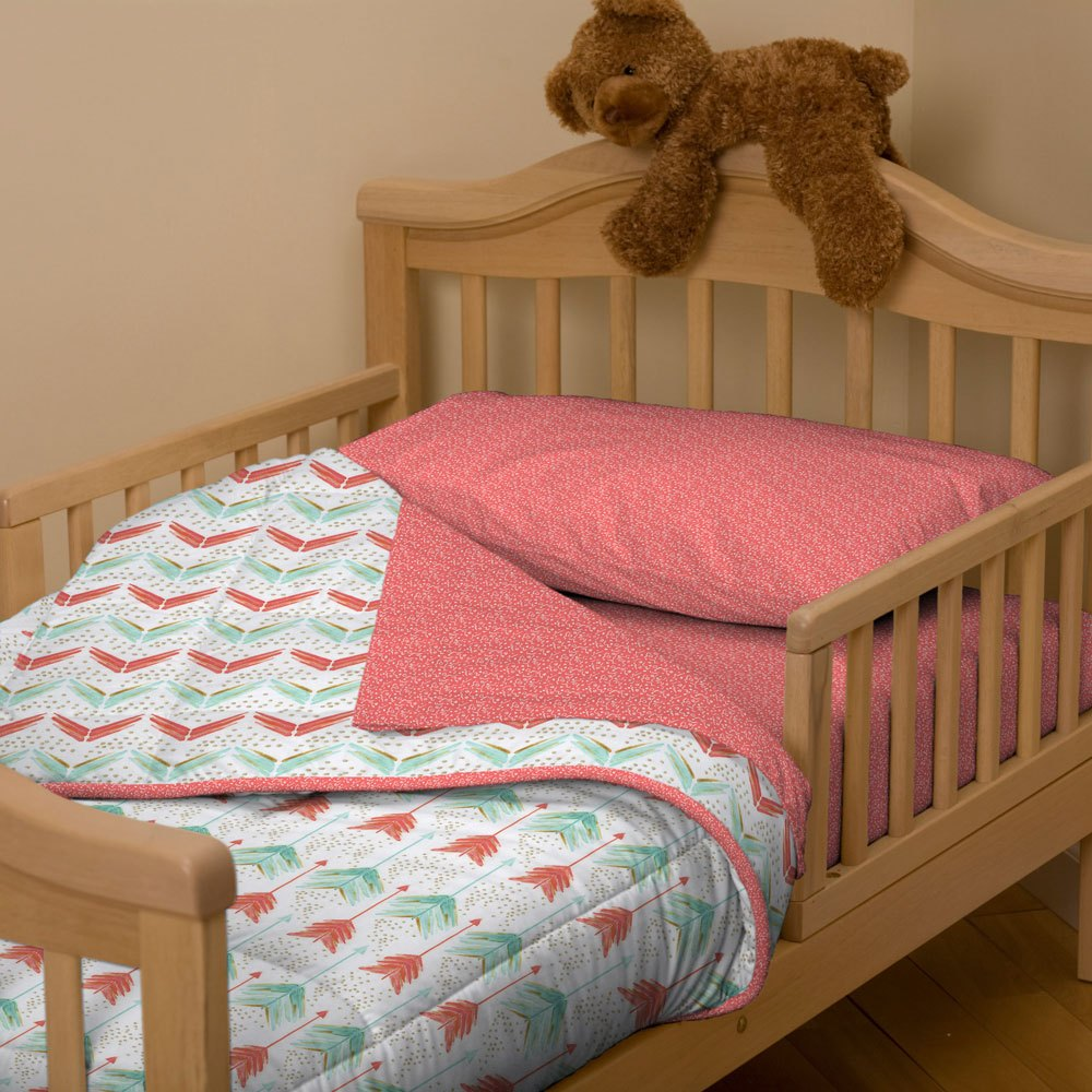 Coral And Teal Toddler Bedding