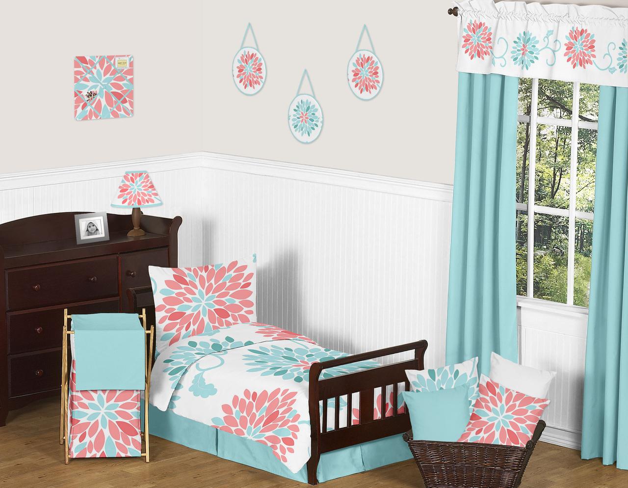 Coral Toddler Girl Bedding