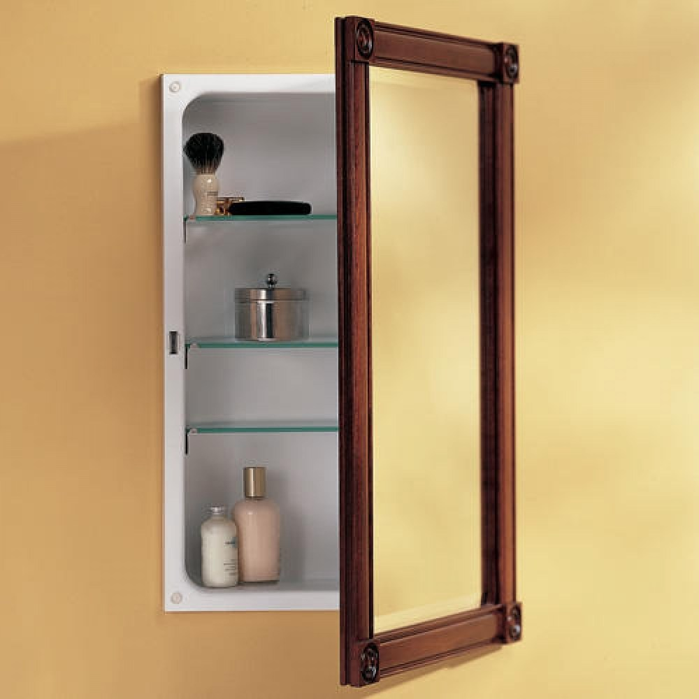 Dark Brown Recessed Medicine Cabinet