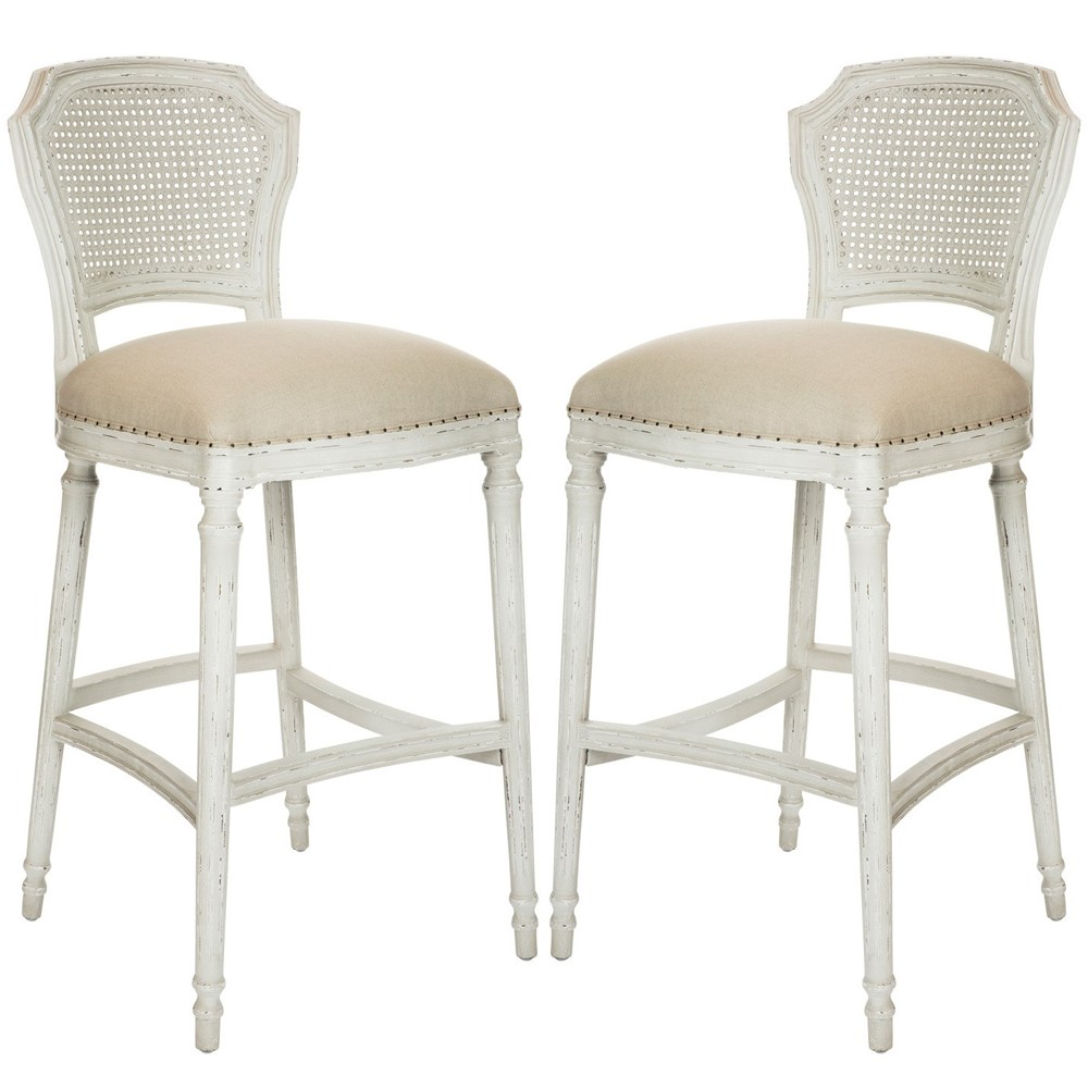 Distressed Antique White Bar Stools