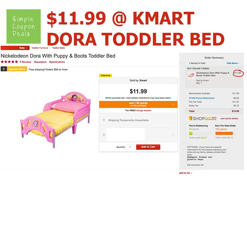 Dora Toddler Bed Kmart