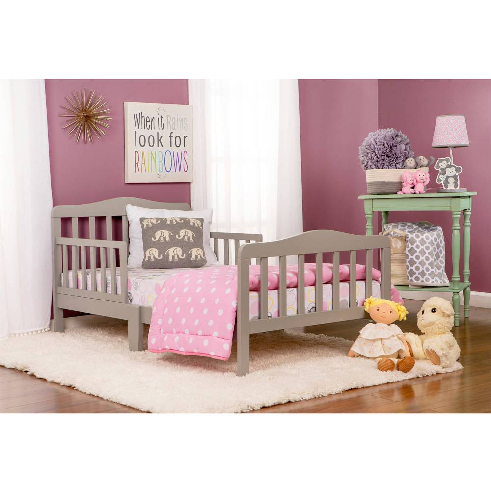 Dream On Me Classic Design Toddler Bed Cool Gray