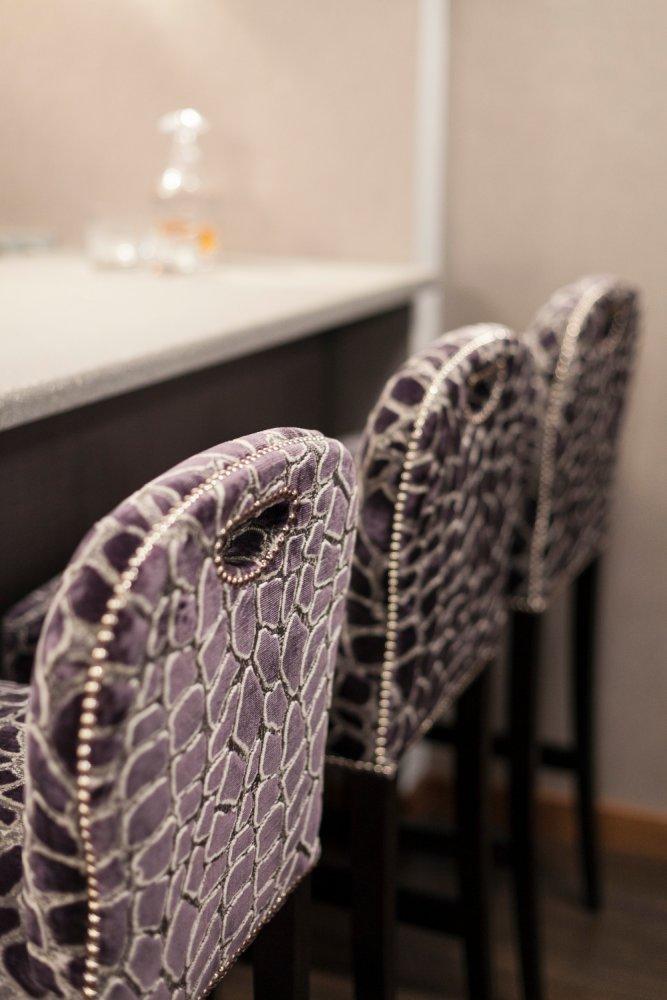 Fabric Studded Bar Stools
