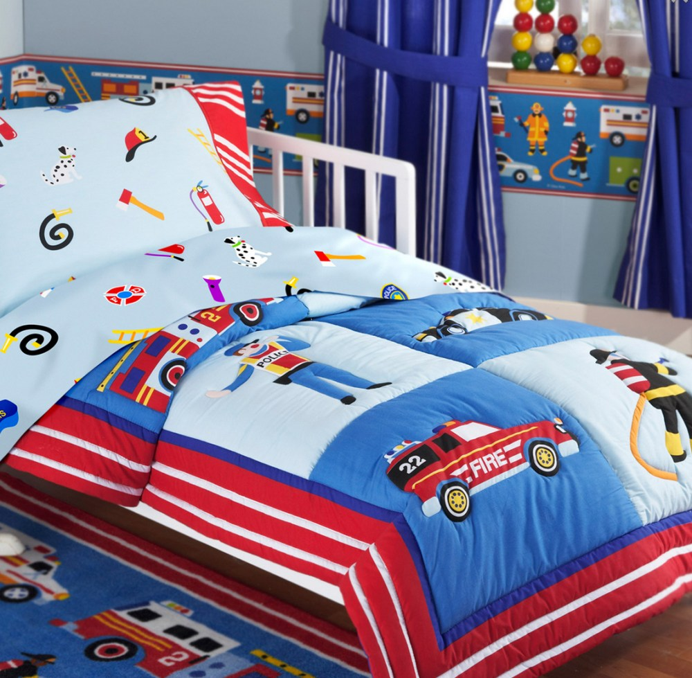 Fire Truck Themed Toddler Bedding