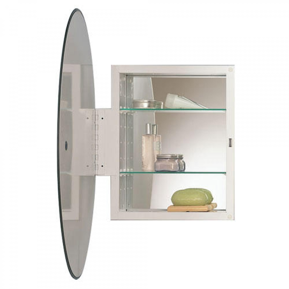 Frameless Mirrored Medicine Cabinet Recessed