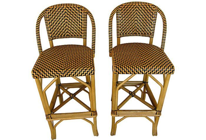 French Bistro Bar Stools Rattan