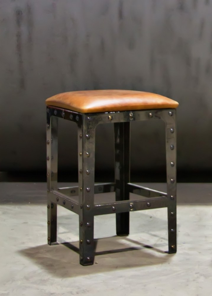 Gray Leather Backless Bar Stools