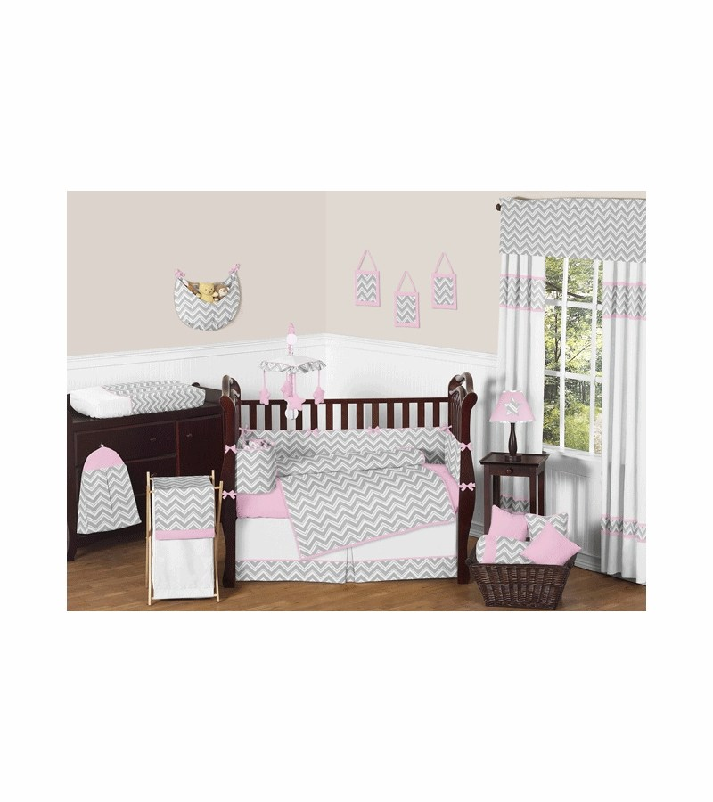 Grey Chevron Toddler Bedding