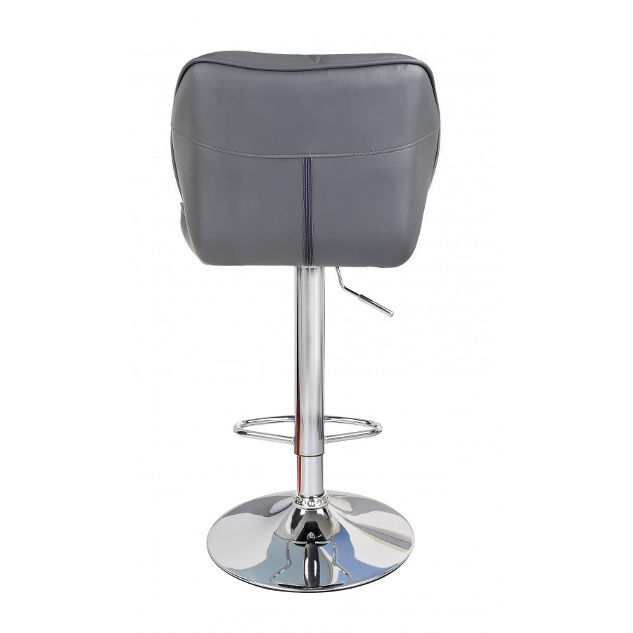 Grey Leather Swivel Bar Stools
