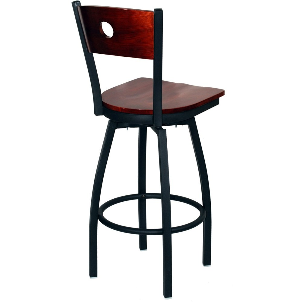 Iron Bar Stool With Wood Seat