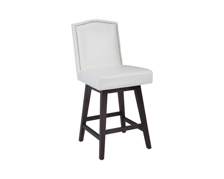 Ivory Leather Swivel Bar Stools